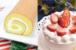 ロールケーキ/苺のホールケーキ